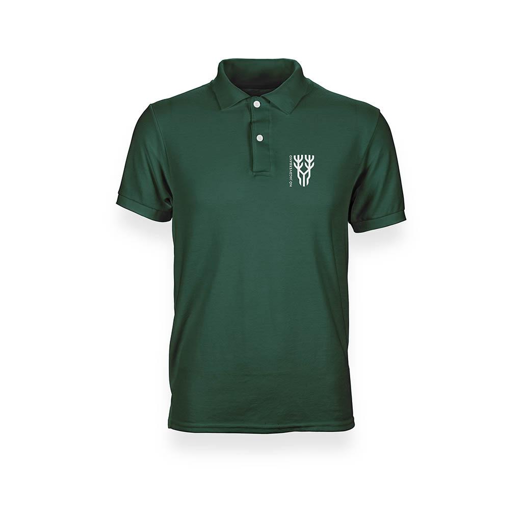 Grünes Poloshirt in Vorderansicht mit Logo
