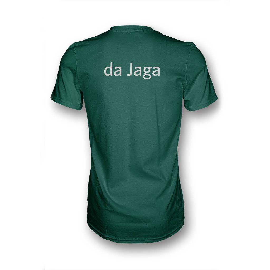 """Grünes T-Shirt in Rückansicht mit Aufdruck """"da Jaga"""""""