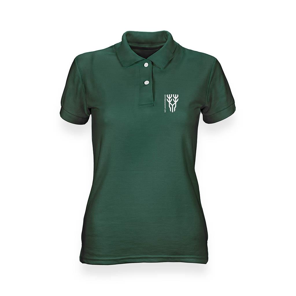 Grünes Poloshirt für Frauen in Vorderansicht mit Logo