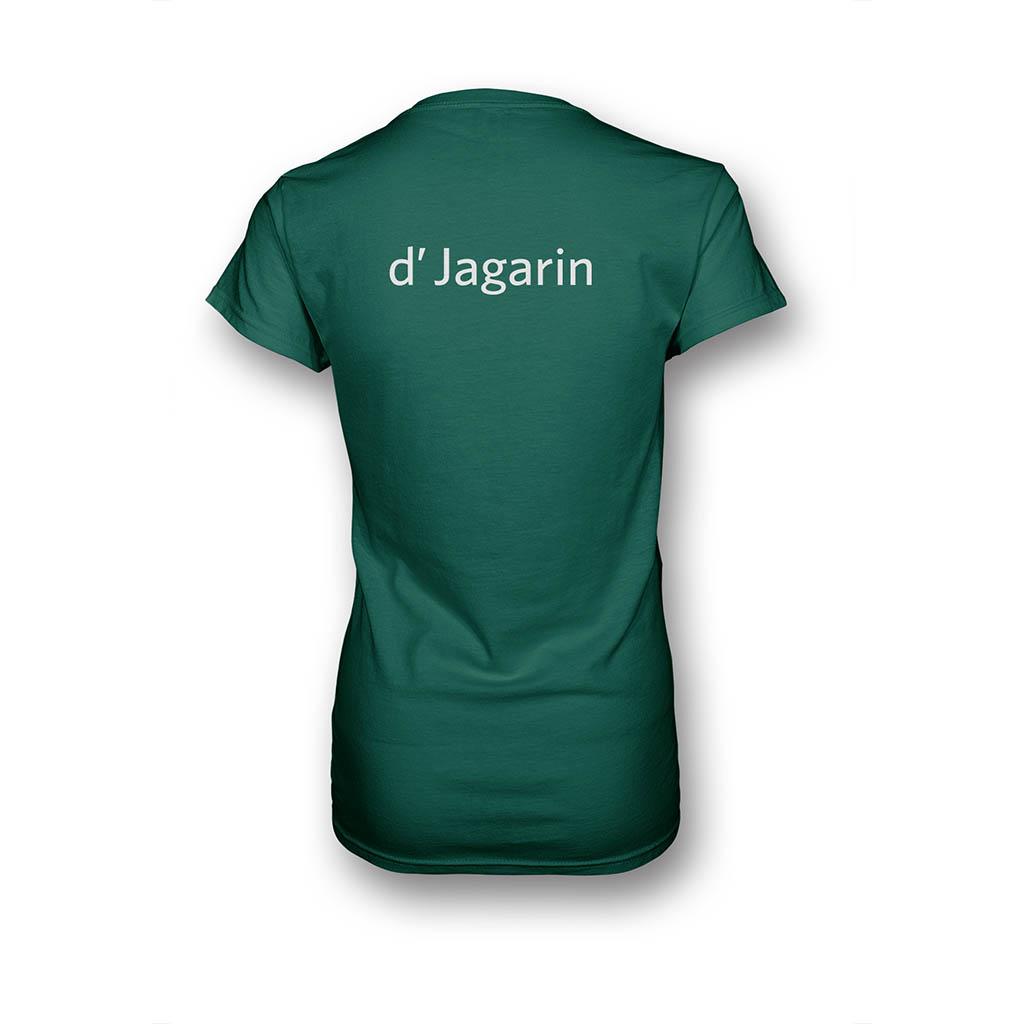 """Grünes T-Shirt für Frauen in Rückansicht mit Aufdruck """"d'Jagarin"""""""