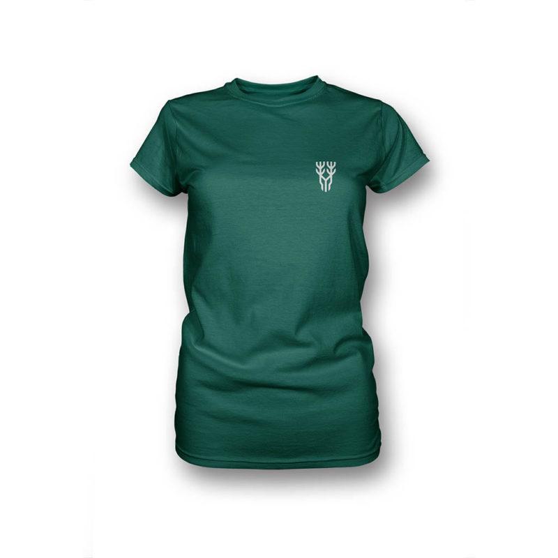 Grünes T-Shirt für Frauen in Vorderansicht mit Logo