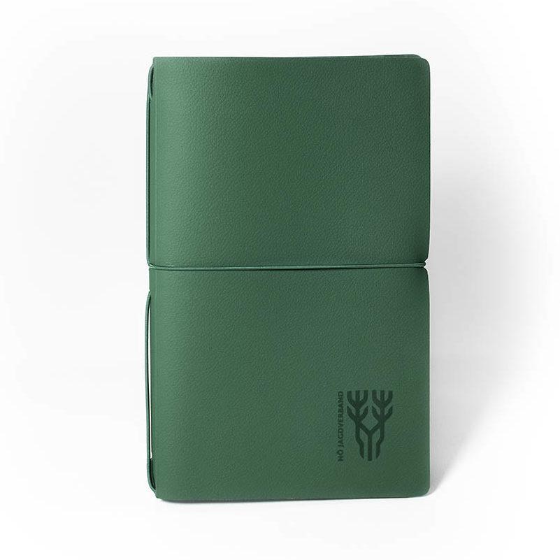Notizbuch in grünem Leder mit Logoprägung